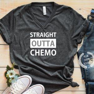 NEW Straight Outta Chemo Grey Vneck Tshirt